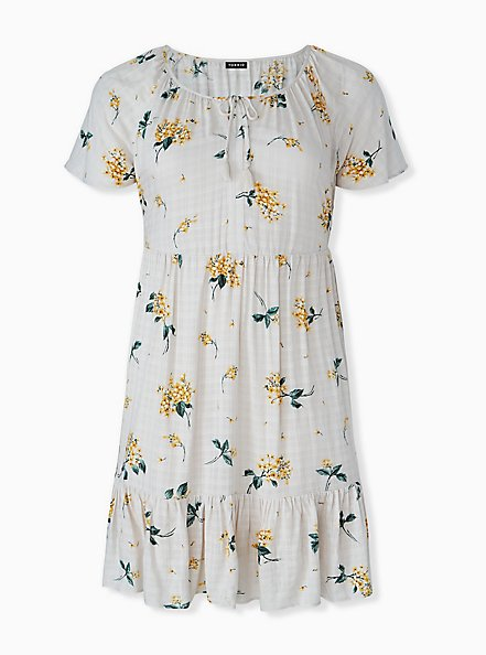 Plus Size Whit & Yellow Floral Crosshatch Shirred Hem Peasant Dress , FLORAL - WHITE, hi-res