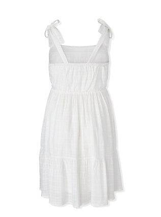 Ivory Textured Button Shirred Hem Skater Dress, CLOUD DANCER, alternate