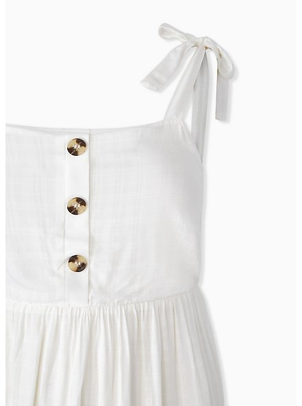 Plus Size Ivory Textured Button Shirred Hem Skater Dress, CLOUD DANCER, alternate