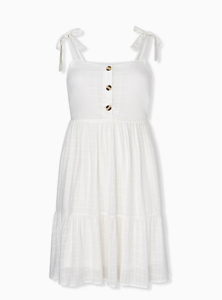 Plus Size Ivory Textured Button Shirred Hem Skater Dress, CLOUD DANCER, hi-res