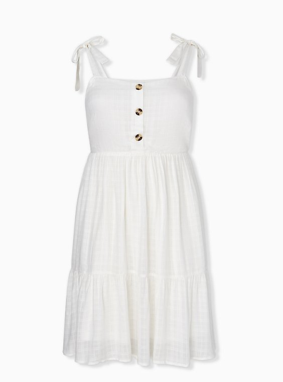 Plus Size Ivory Textured Button Shirred Hem Skater Dress, , hi-res