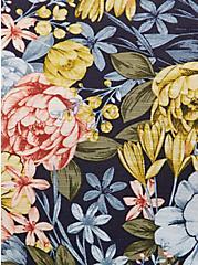 Plus Size Navy Floral Slub Jersey Shirred Hem Off Shoulder Top, FLORAL - BLUE, alternate