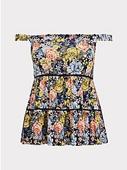 Navy Floral Slub Jersey Shirred Hem Off Shoulder Top, FLORAL - BLUE, hi-res