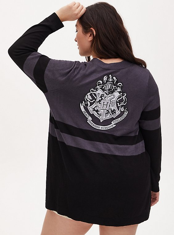 Plus Size Harry Potter Hogwarts Crest Black & Grey Stripe Cardigan, , hi-res