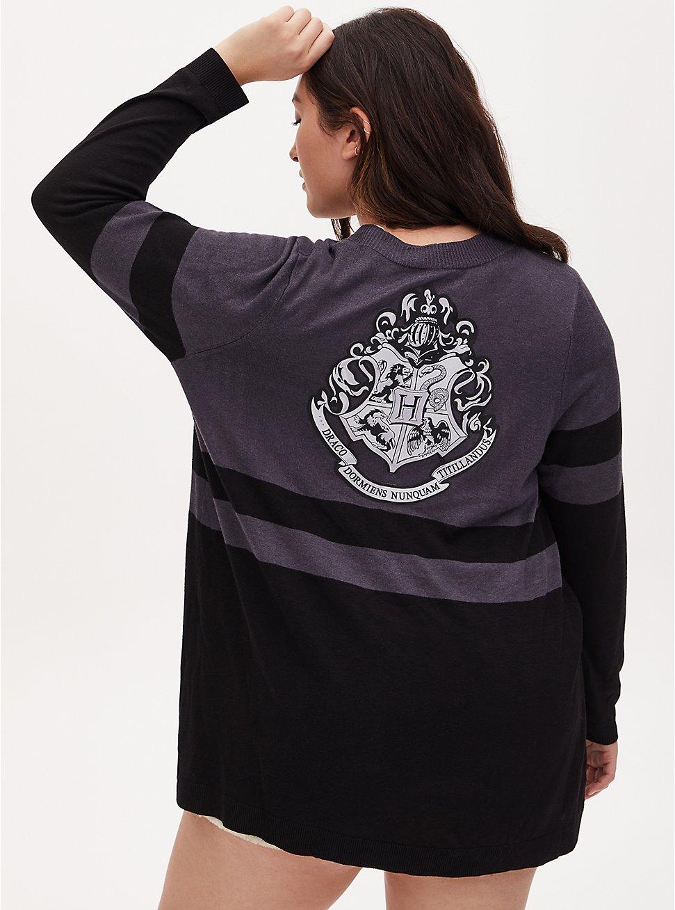 Harry Potter Hogwarts Crest Black & Grey Stripe Cardigan, BLACK  GREY, hi-res