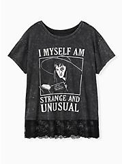 Beetlejuice Strange & Unusual Black Mineral Wash Lace Hem Top, DEEP BLACK, hi-res