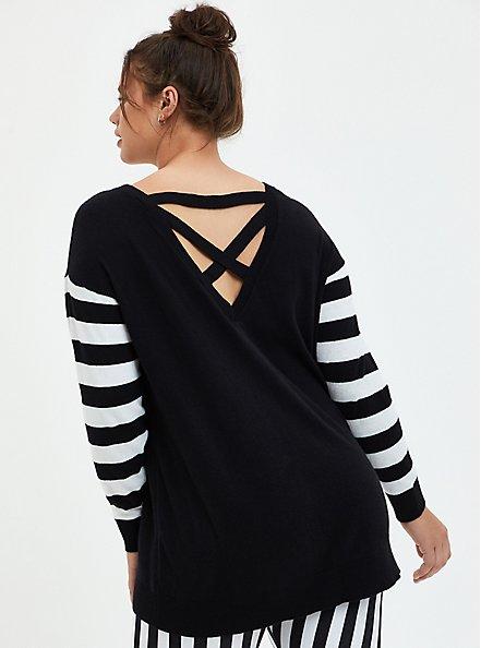 Beetlejuice Three Time Stripe Sleeve Cutout Back Sweater, DEEP BLACK, alternate