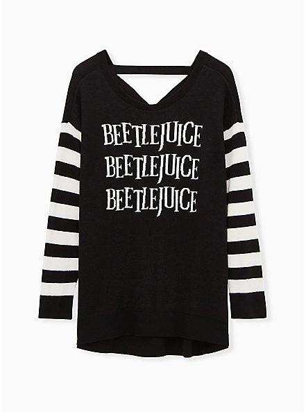 Beetlejuice Three Time Stripe Sleeve Cutout Back Sweater, DEEP BLACK, hi-res