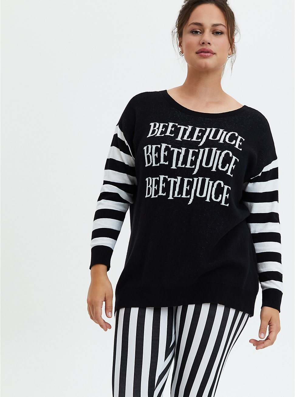 Beetlejuice Three Time Stripe Sleeve Cutout Back Sweater, DEEP BLACK, hi-res