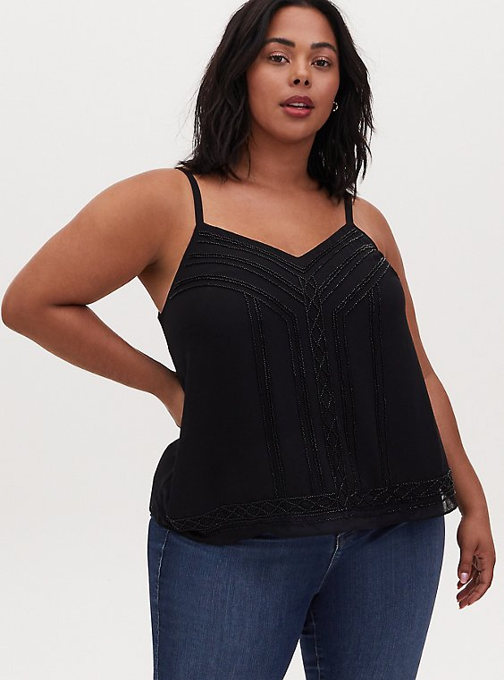 Plus Size Sophie - Black Chiffon Beaded Swing Cami, , hi-res