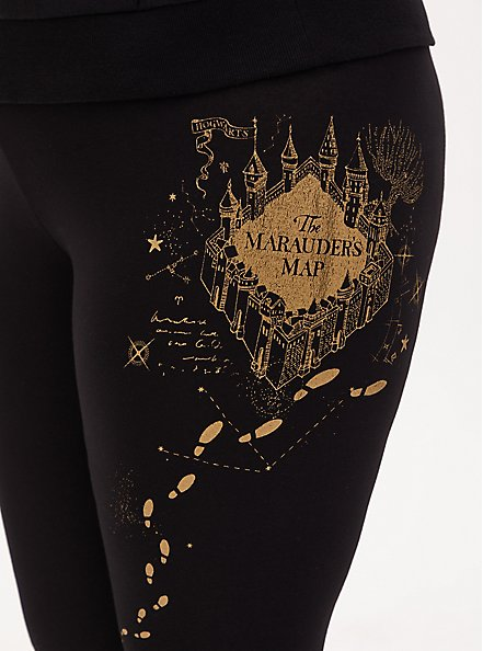 Harry Potter Marauder's Map Black Crop Legging, DEEP BLACK, alternate