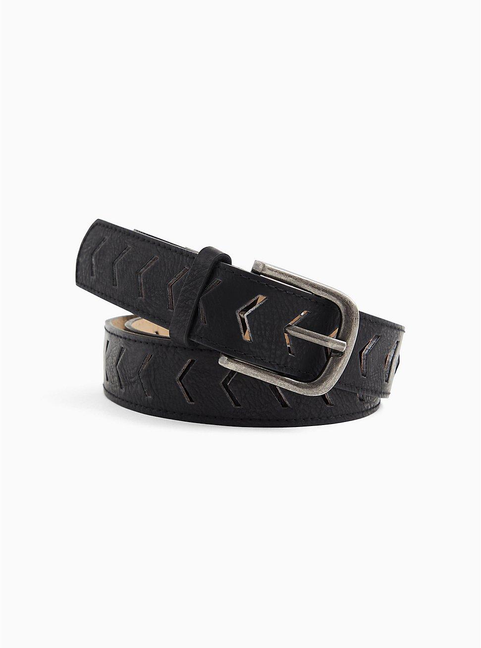 Black Faux Leather Chevron Laser Cut Belt , BLACK, hi-res