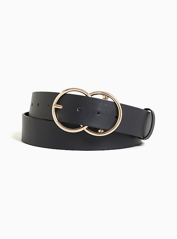 Black Faux Leather Dual Ring Buckle Belt, , hi-res