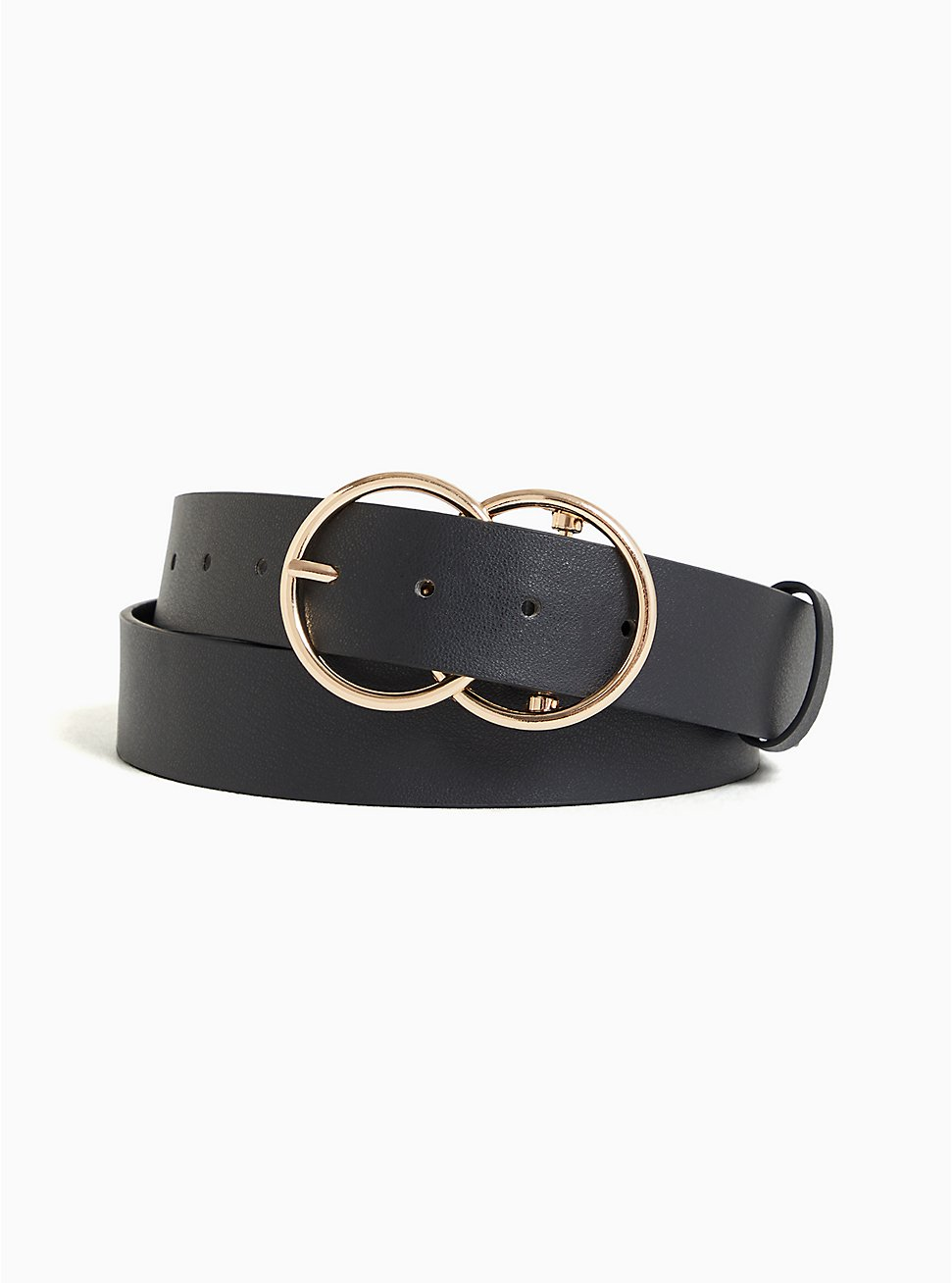 Black Faux Leather Dual Ring Buckle Belt, BLACK, hi-res