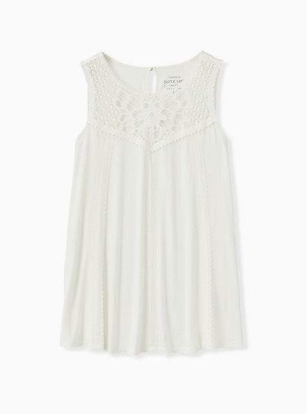Super Soft White Crochet Inset Tunic Tank, CLOUD DANCER, hi-res