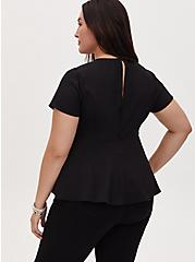 Black Crepe Caged Peplum Top, DEEP BLACK, alternate