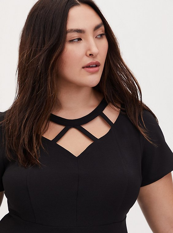 Black Crepe Caged Peplum Top, , hi-res