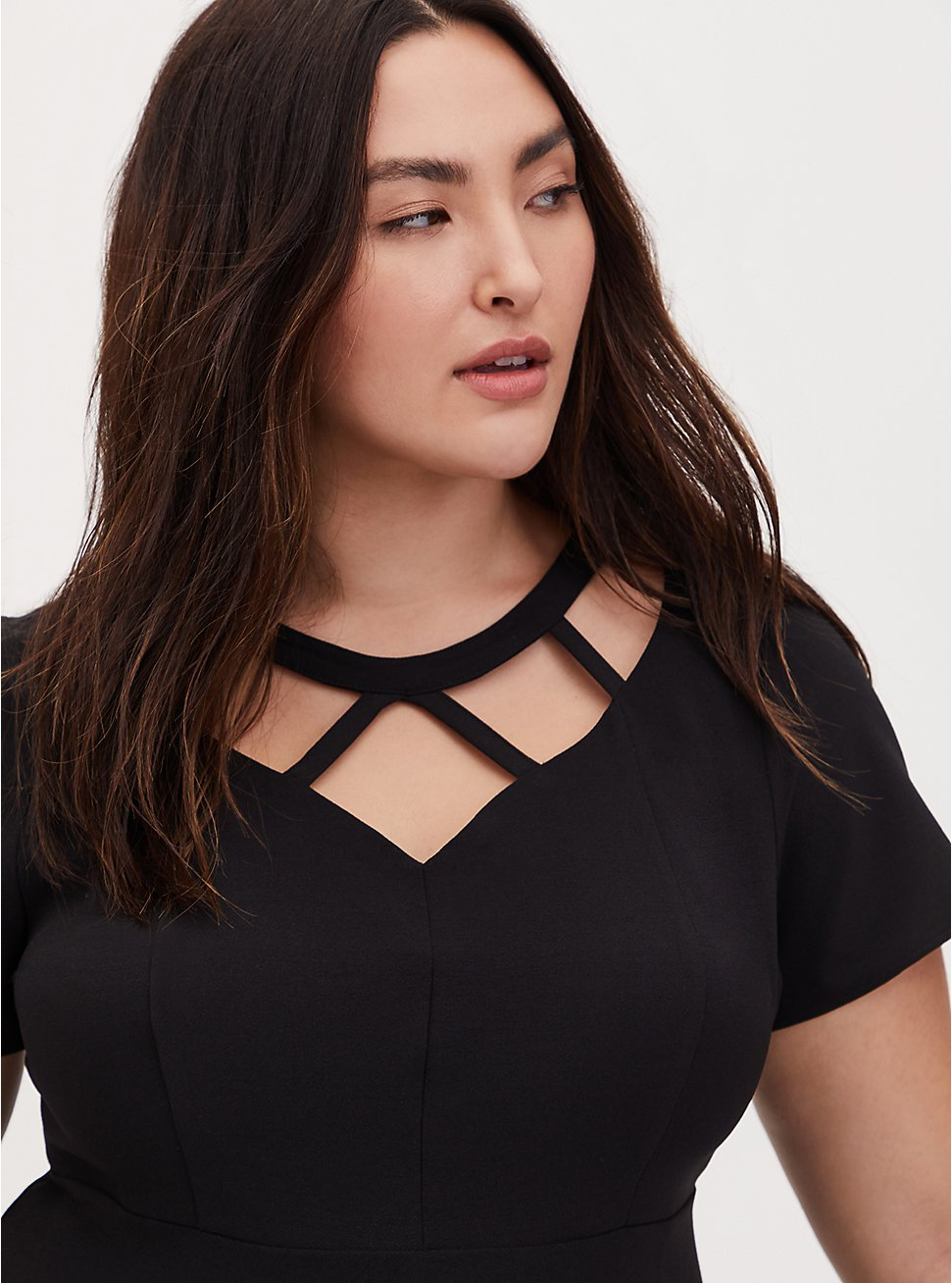 Black Crepe Caged Peplum Top, DEEP BLACK, hi-res