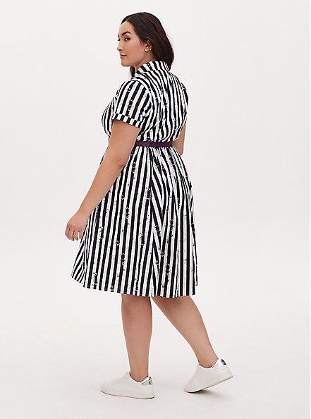 Beetlejuice Snake Stripe Black & White Belted Swing Dress, BLACK  WHITE, alternate
