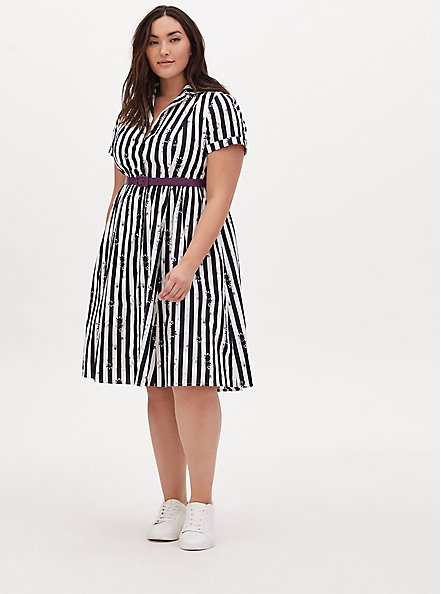 Beetlejuice Snake Stripe Black & White Belted Swing Dress, BLACK  WHITE, hi-res