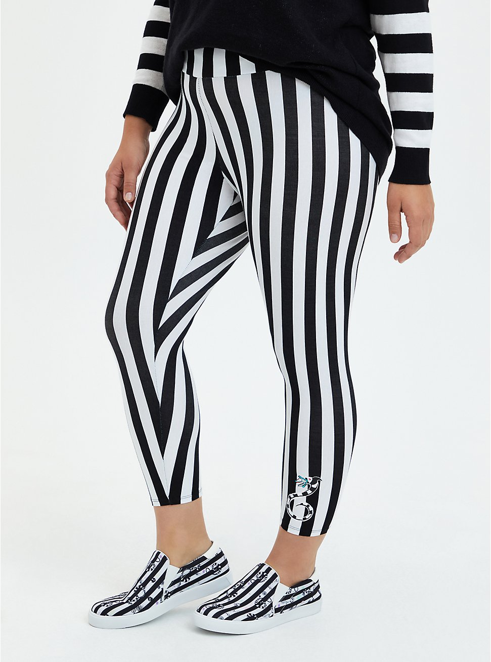 Beetlejuice Black & White Stripe Crop Legging, BLACK WHITE STRIPE, hi-res