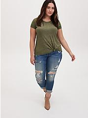 Plus Size Relaxed Fit Crew Tee - Vintage Burnout Olive Green , DEEP DEPTHS, alternate