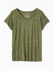 Plus Size Relaxed Fit Crew Tee - Vintage Burnout Olive Green , DEEP DEPTHS, hi-res
