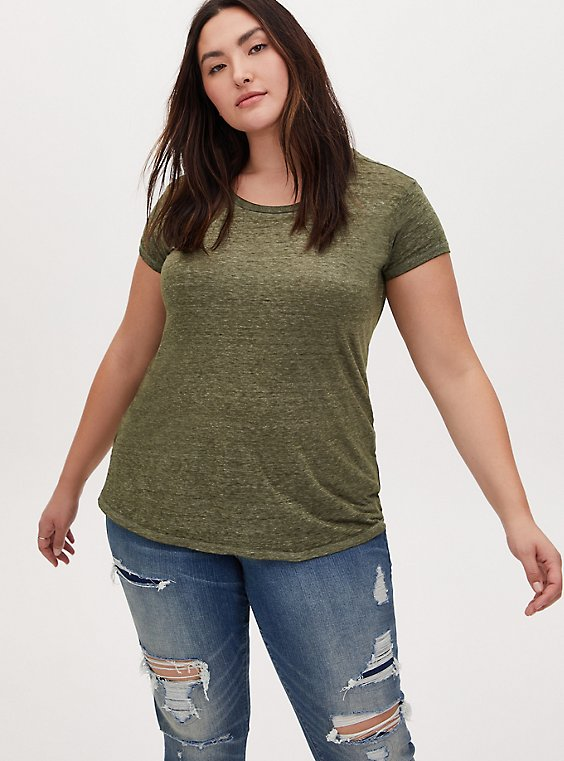 Relaxed Fit Crew Tee - Vintage Burnout Olive Green , , hi-res