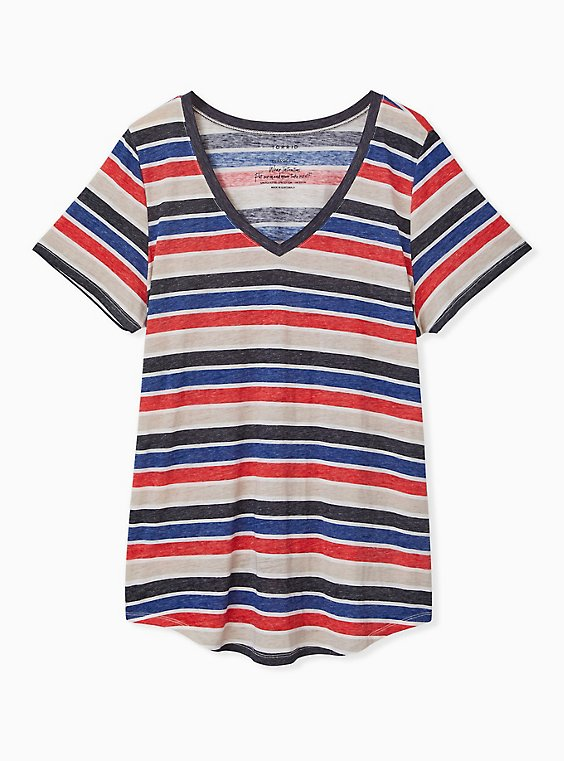 Plus Size V-Neck Tee - Triblend Burnout Stripe Multi, , hi-res