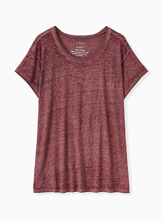 Relaxed Fit Crew Tee - Vintage Burnout Burgundy Purple, WINETASTING, hi-res