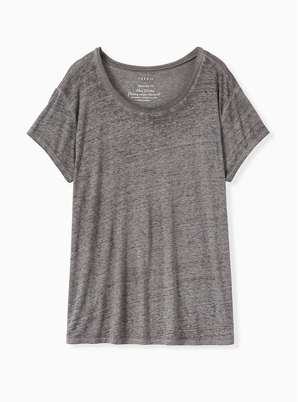 Plus Size Relaxed Fit Crew Tee - Vintage Burnout Grey, HEATHER GREY, hi-res