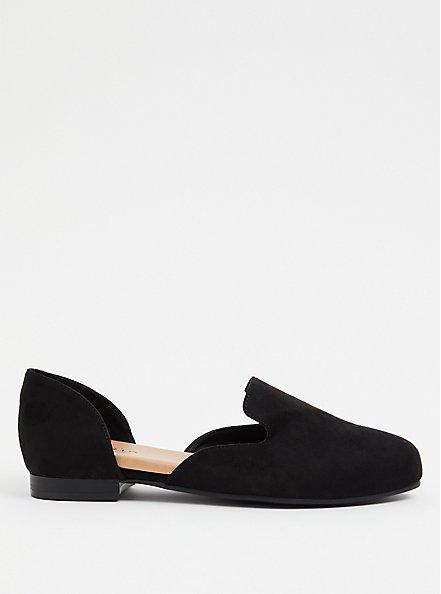 Black Faux Suede D'Orsay Loafer (WW), BLACK, alternate
