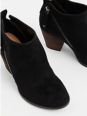 Black Faux Suede Double Zip Bootie (WW), BLACK, alternate