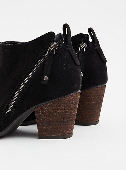 Black Faux Suede Double Zip Bootie (WW), BLACK, alternate