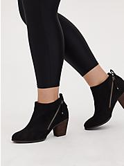 Black Faux Suede Double Zip Bootie (WW), BLACK, hi-res