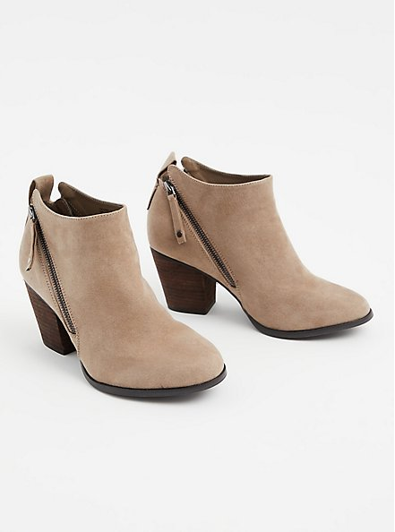 Taupe Faux Suede Double Zip Bootie (WW), , alternate