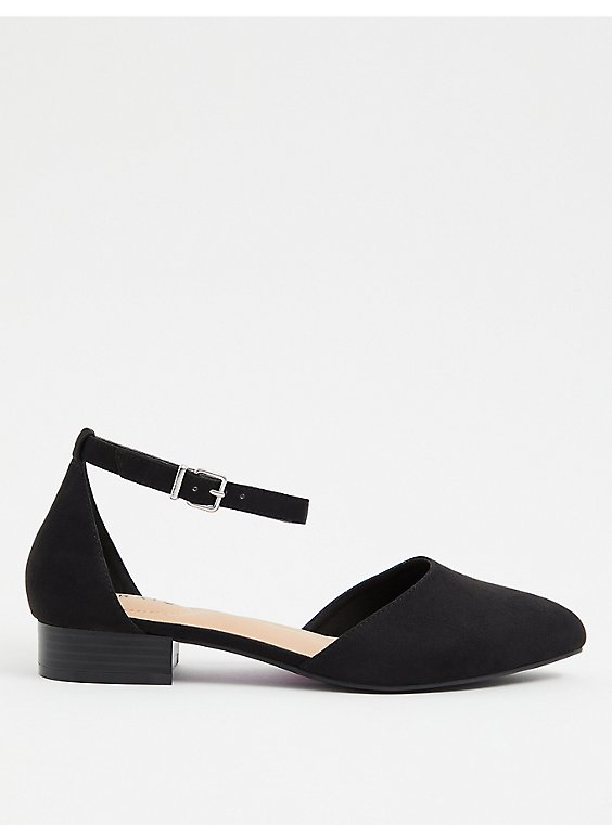 Black Faux Suede Pointed Toe Flat (WW), , hi-res