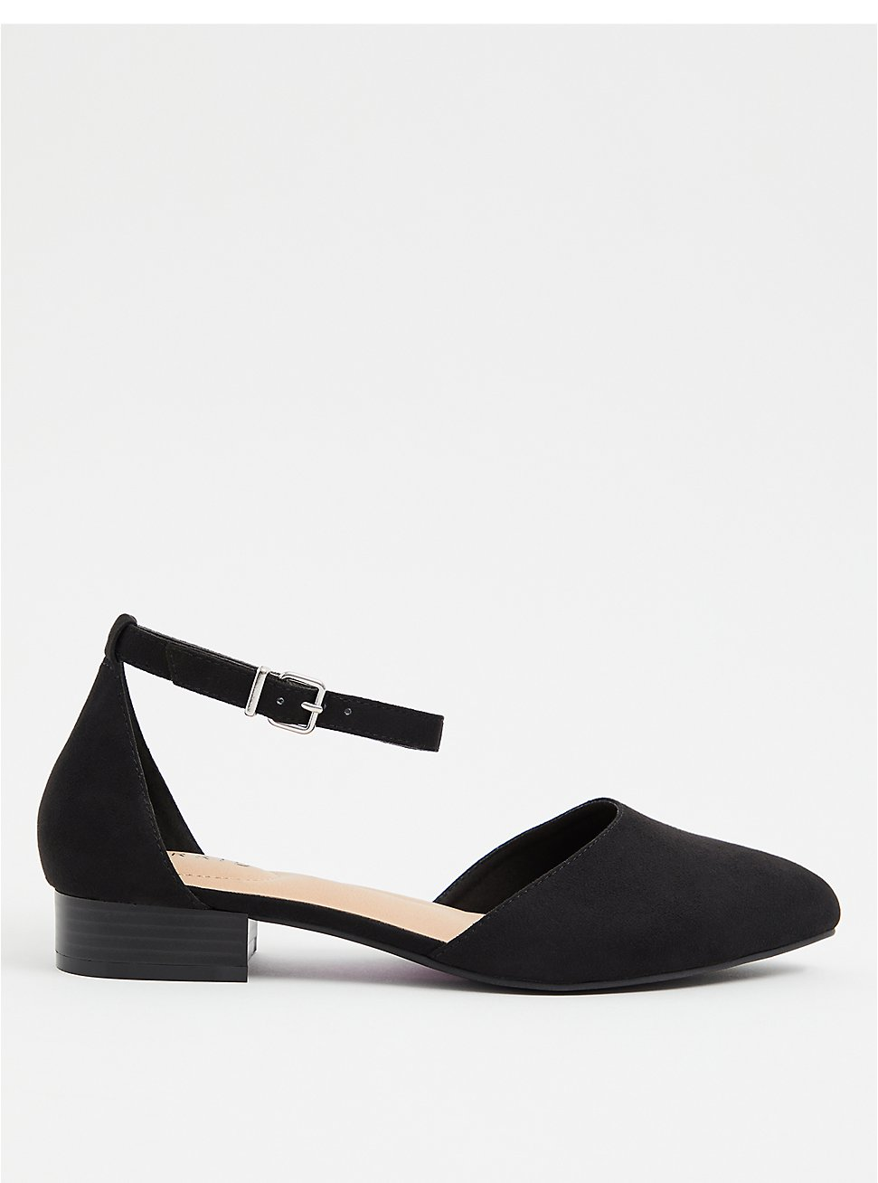 Black Faux Suede Pointed Toe Flat (WW), BLACK, hi-res