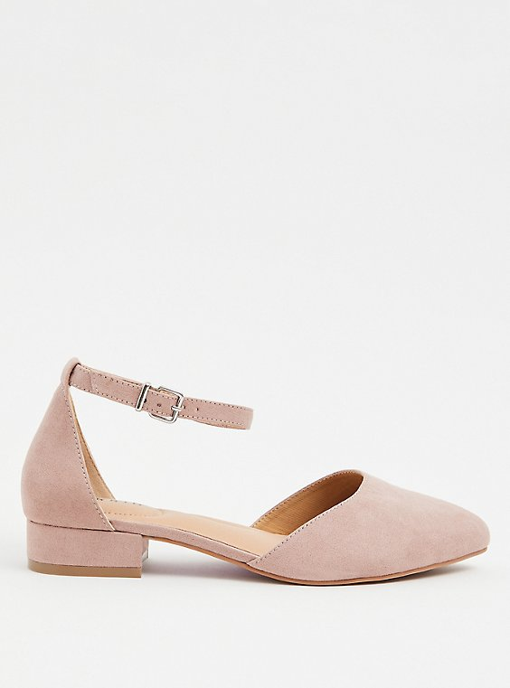 Blush Pink Faux Suede Pointed Toe Flat (WW), , hi-res
