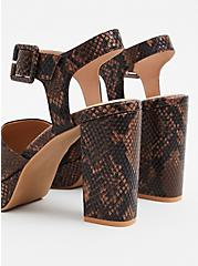 Brown Snakeskin Print Faux Leather Platform Heel (WW), ANIMAL, alternate