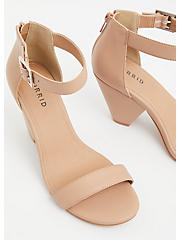 Beige Faux Leather Cone Heel (WW), , alternate