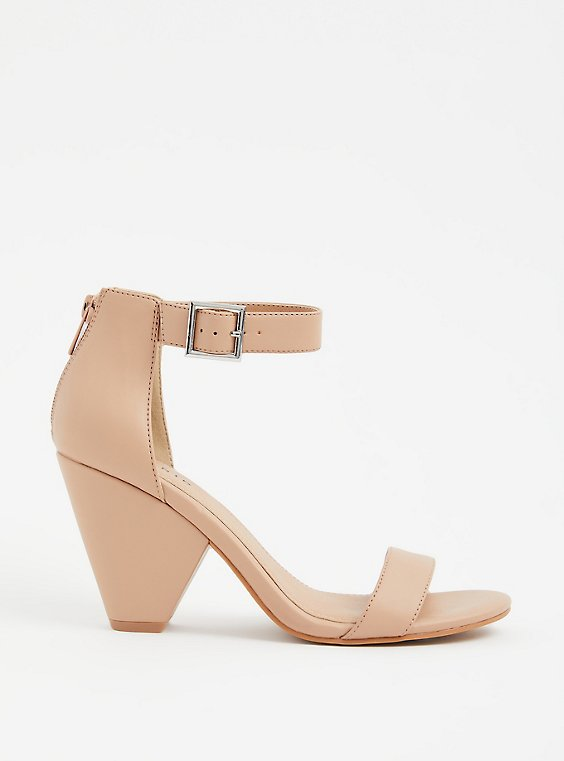 Plus Size Beige Faux Leather Cone Heel (WW), , hi-res