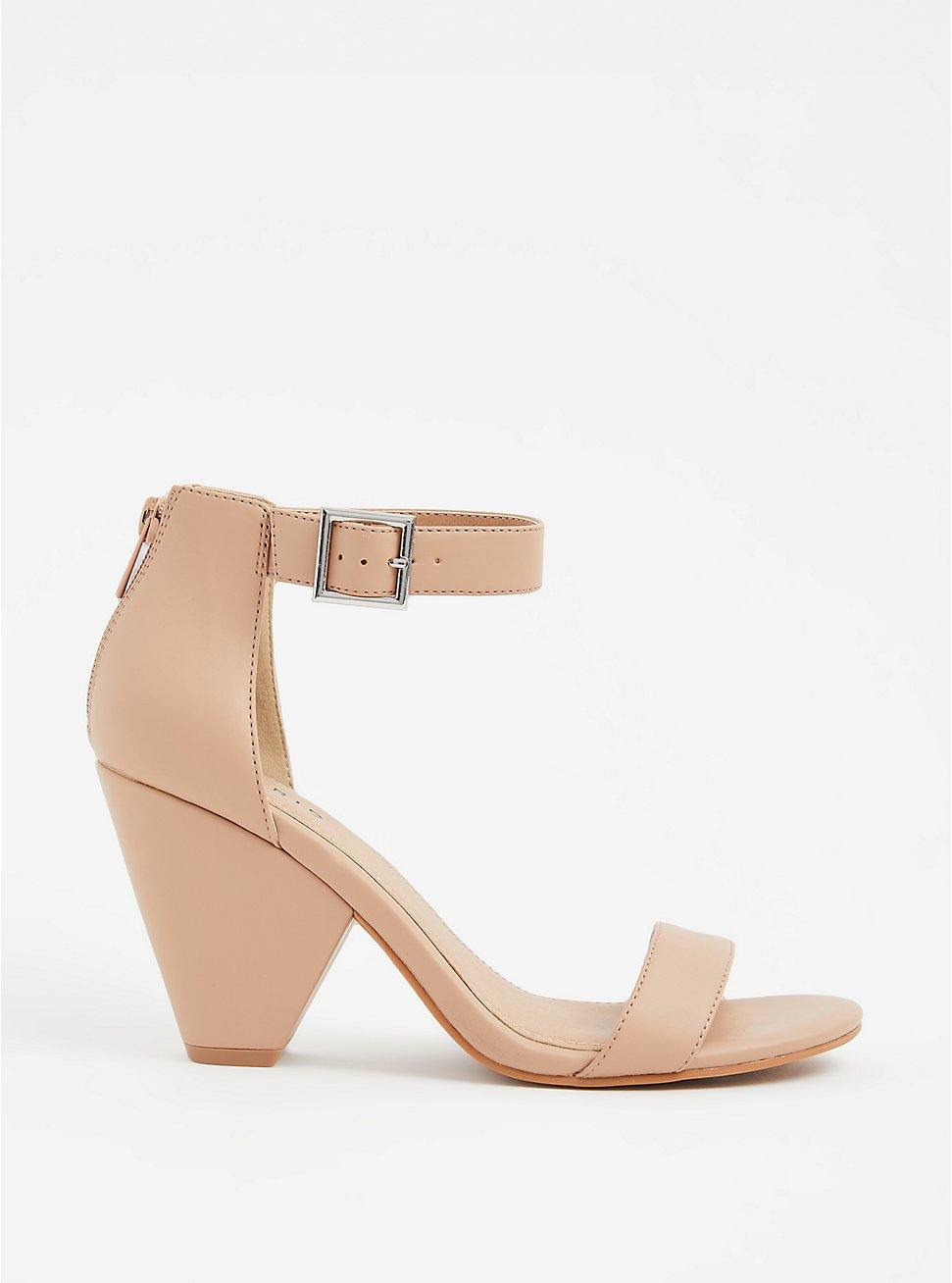Beige Faux Leather Cone Heel (WW), , hi-res
