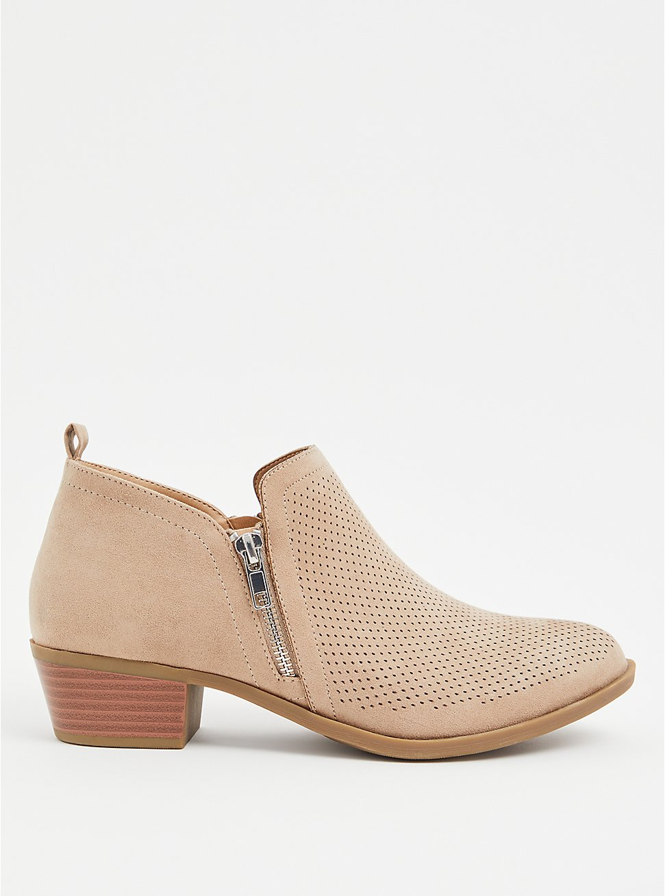Beige Faux Suede Perforated Ankle Boot (WW), TAN/BEIGE, hi-res