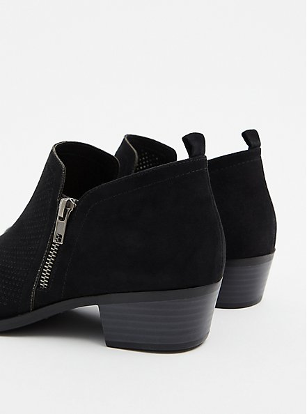 Black Faux Suede Perforated Ankle Bootie (WW), BLACK, alternate