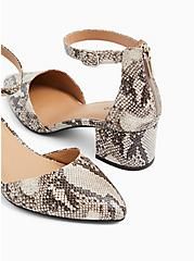 Snakeskin Print Faux Leather Pointed Toe Block Heel (WW), ANIMAL, alternate