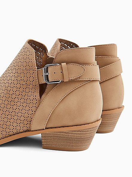 Taupe Faux Leather Side Buckle Laser Cut Ankle Boot (WW), , alternate