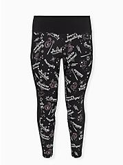 Harry Potter Spell & Icon Black Crop Active Legging with Pockets, BLACK, alternate
