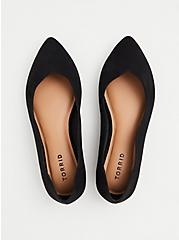 Black Faux Suede Scalloped Pointed Toe Flat (WW), BLACK, alternate