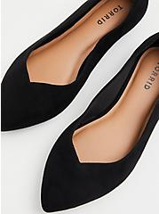 Black Faux Suede Scalloped Pointed Toe Flat (WW), BLACK, hi-res